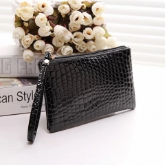 Handbag for Women Portable Wallet Purse Simple Style Crocodile Pattern Bag black one size