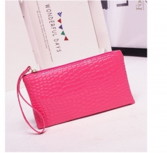 Handbag for Women Portable Wallet Purse Simple Style Crocodile Pattern Bag pink one size