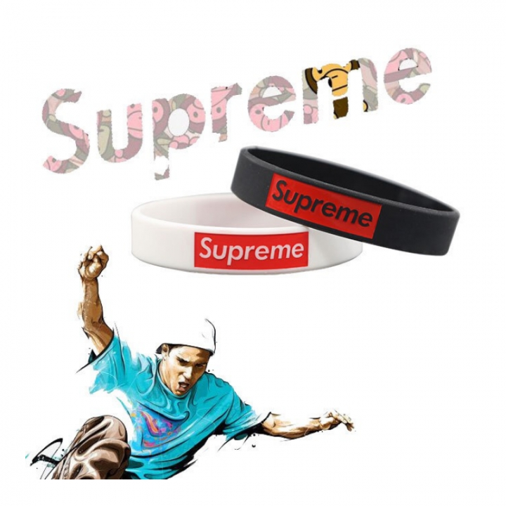 Supreme Star Sports Silicone  bracelet For Men Wome  Boy Girl Hip-Hop Culture black one size