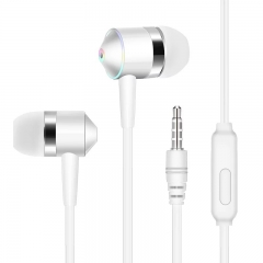 SL In Ear Earphone Headphone Wired Volume Control with Microphone Speaker For Mobile MP3 MP4 IPod white