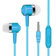 SL In Ear Earphone Headphone Wired Volume Control with Microphone Speaker For Mobile MP3 MP4 IPod blue