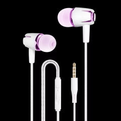 SL In Ear Fashion Earphone Headphone Subwoofer Wired Volume Control with MicrophoneFor Mobile purple