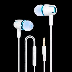 SL In Ear Fashion Earphone Headphone Subwoofer Wired Volume Control with MicrophoneFor Mobile blue