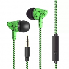 SL Wire Control Earphone headset Subwoofer Crack Style With Microphone Listening to Music Earplugs green