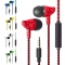 SL Wire Control Earphone headset Subwoofer Crack Style With Microphone Listening to Music Earplugs red