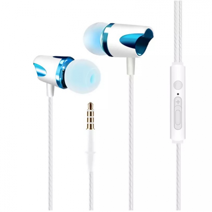 SL Earphone headset Wire Control Subwoofer With Microphone Speaker Listening to Music Earplugs blue