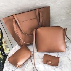 SL Handbag Fashion Women's Bag Purse Ladies PU Leather Crossbody Bag 4Pcs/Set brown one size
