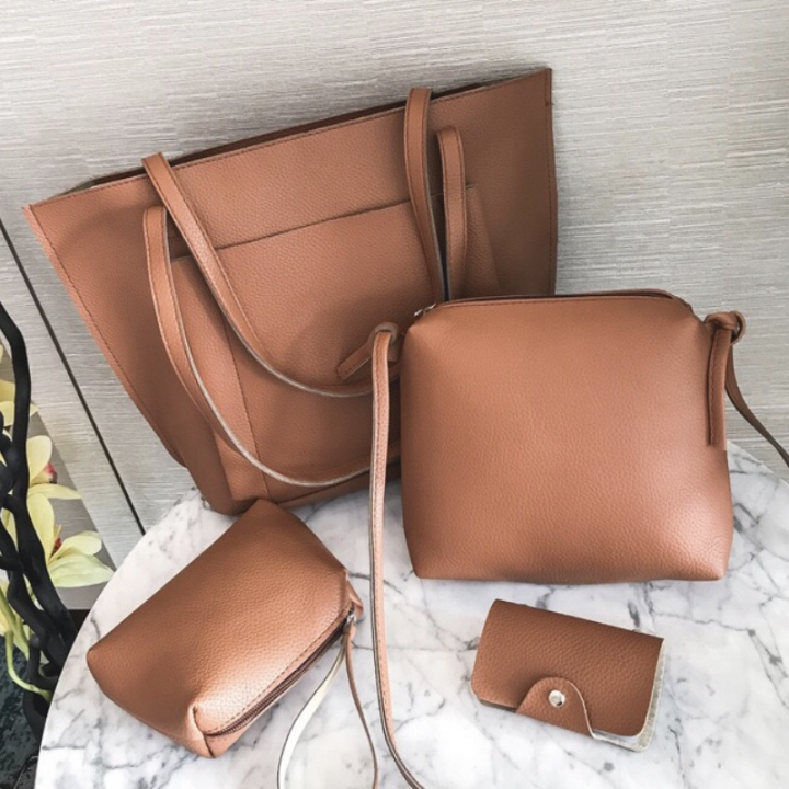 SL Handbag Fashion Women's Bag Purse Ladies PU Leather Crossbody Bag 4Pcs/Set brown one size