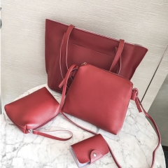 SL Handbag Fashion Women's Bag Purse Ladies PU Leather Crossbody Bag 4Pcs/Set red one size