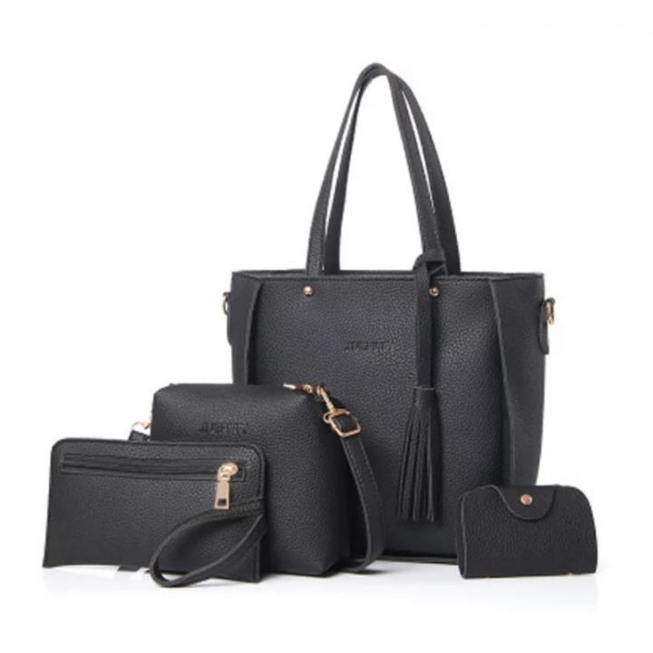 SL Women's  Handbag With Tassel Purse Wallet Fashion Ladies PU Leather Crossbody Bag 4 PCS/Set black one size