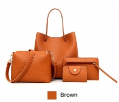 SL Women's Handbag 4 Pcs/Set Fashion Casual Simple Style Handbag+Shoulder bag+Card bag+Cellphone bag brown one size