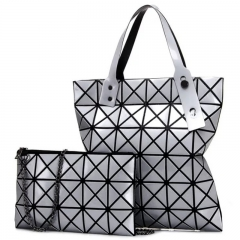 SL Women's Handbag 2 Pcs/Set Fashion Laser Rhombic Lattice Element Foldable Portable Design silver one size