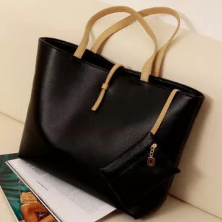 SL Handbags Large Capacity Handbag Fashion Buckle Shoulder bag black one size