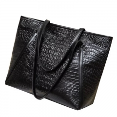 SL Women's Handbag Fashion Modern High End Crocodile Pattern Large capacity Design black one size