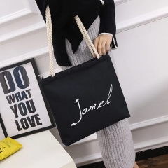 SL Women's Handbag Fashion Casual Simple Canvas Bag Large Capacity Black letter style one size