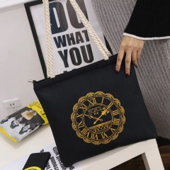 SL Women's Handbag Fashion Casual Simple Canvas Bag Large Capacity Black clock style one size