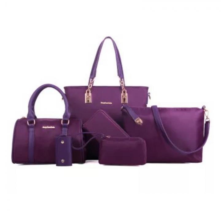 SL Women's Handbag Luxury 6 Pcs/set High End Nylon Fashion Classic Noble and Elegant Large Capacity dark purple 6 pcs set