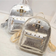 SL Women's Fashion Backpack Shiny Color Rivet Element Exquisite Style golden one size