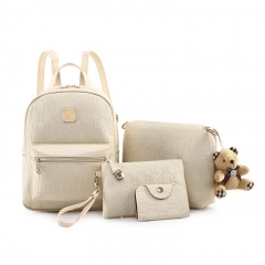SL Women's Backpack Luxury 4 Pcs/Set Backpack + Shoulder Bag+ Wallet + Card bag PU Leather Bag white one size