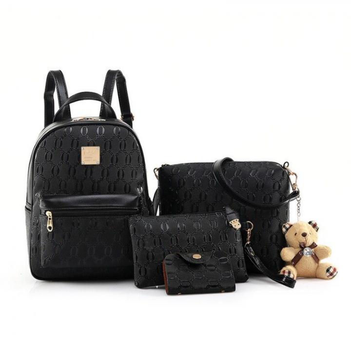 SL Women's Backpack Luxury 4 Pcs/Set Backpack + Shoulder Bag+ Wallet + Card bag PU Leather Bag black one size