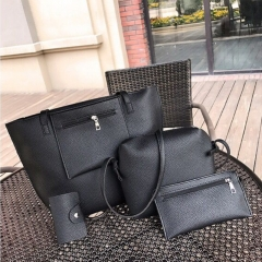 SL Women's Handbag Luxury 4 Pcs/Set Handbag+Shoulder Bag+ Cellphone Bag +Card Bag Fashion Classic black one size