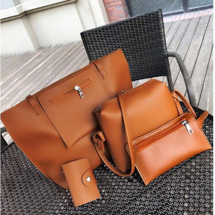 SL Women's Handbag Luxury 4 Pcs/Set Handbag+Shoulder Bag+ Cellphone Bag +Card Bag Fashion Classic brown one size