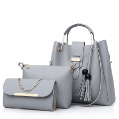 SL Women's Handbag Luxury 3 Pcs/Set Handbag+Shoulder Bag+Wallet 5 Colors Noble Elegant Exquisite grey one size