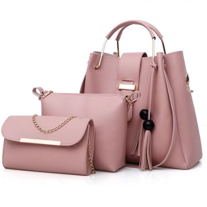 SL Women's Handbag Luxury 3 Pcs/Set Handbag+Shoulder Bag+Wallet 5 Colors Noble Elegant Exquisite pink one size