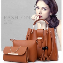 SL Women's Handbag Luxury 3 Pcs/Set Handbag+Shoulder Bag+Wallet 5 Colors Noble Elegant Exquisite brown one size