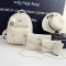 SL Women's Backpack Luxury 4 Pcs/Set 3 Colors Backpack + Shoulder Bag+ Wallet + Card bag PU Leather white one size