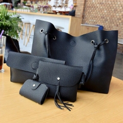 SL Women Handbag Luxury4 Pcs/Set 4 colorsHandbag+Shoulder Bag+Cellphone Bag+Card Bag Soft PU Leather black one size