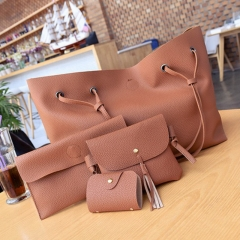 SL Women Handbag Luxury4 Pcs/Set 4 colorsHandbag+Shoulder Bag+Cellphone Bag+Card Bag Soft PU Leather brown one size