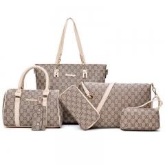 SL Women's Fashion Handbag Luxury 6 Pcs/Set 5 Colors High Quality Practical  Noble Elegant Style white one size