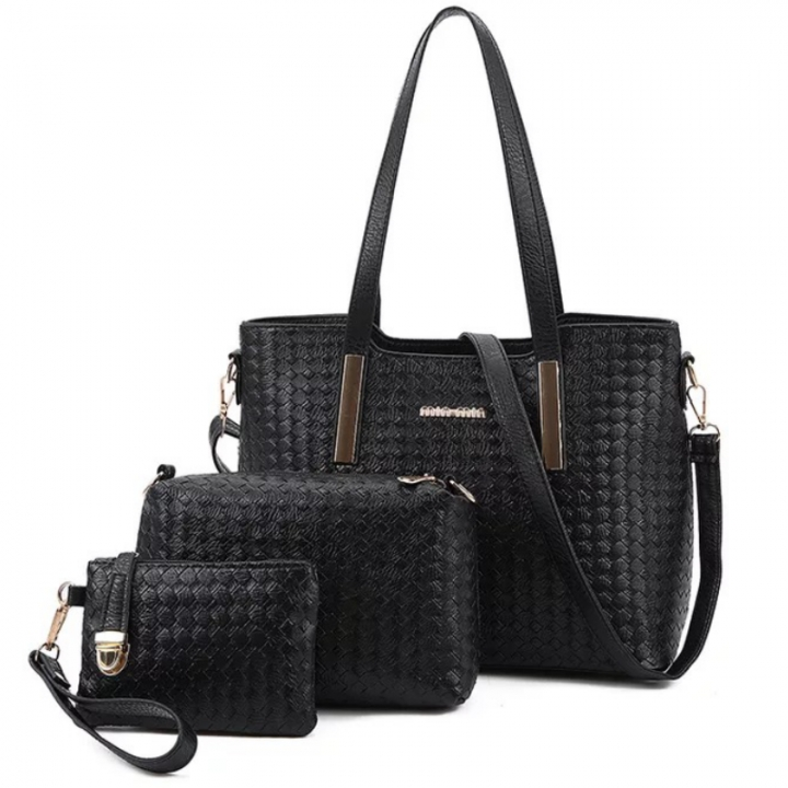 SL Women Handbag Luxury 3 Pcs/Set 3 Colors Woven Style Handbag+Shoulder Bag+ Cellphone Bag/Wallet black one size