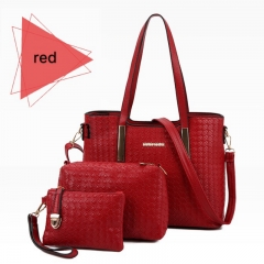 SL Women Handbag Luxury 3 Pcs/Set 3 Colors Woven Style Handbag+Shoulder Bag+ Cellphone Bag/Wallet red one size
