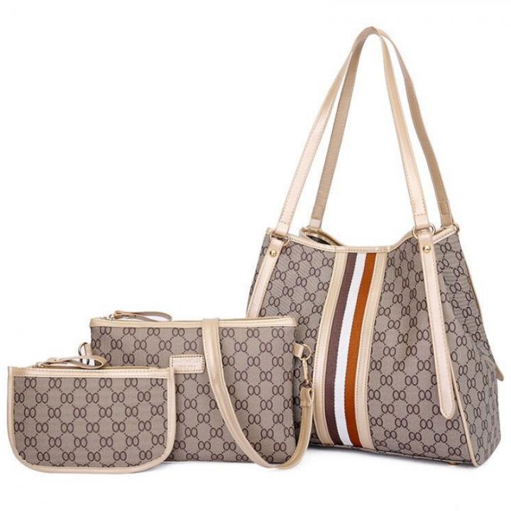 SL Women Handbag Luxury 3 Pcs/Set 4 Colors Elegant Handbag+Shoulder Bag+ Cellphone Bag/Wallet white one size