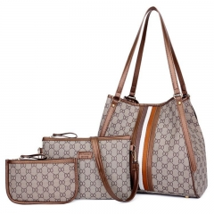 SL Women Handbag Luxury 3 Pcs/Set 4 Colors Elegant Handbag+Shoulder Bag+ Cellphone Bag/Wallet brown one size