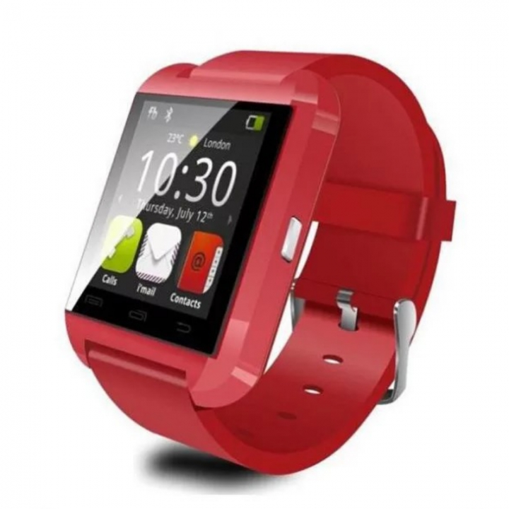 U8 Bluetooth Smart Watch Sport Wristwatch Smartwatch IOS Android iPhone Samsung Infinix Camera red one size