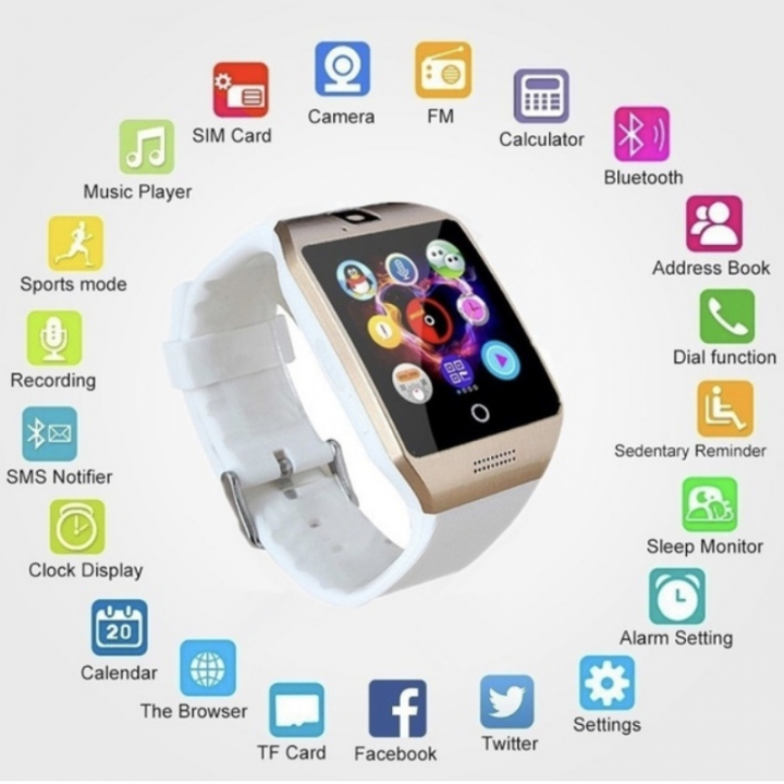 Bluetooth Smart Watch Sports WristWatch Smartwatch IOS Android iPhone Samsung Infinix Clock Camera white one size