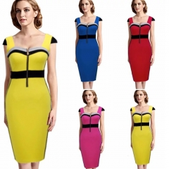 SL Fashion Dress Women Casual Sexy Stretch Bodycon Party Dress Colorblock Design s red