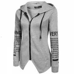 Fashion Hoodies Coat For Women Irregular Style Sports Casual Wear Letter Printing grey M