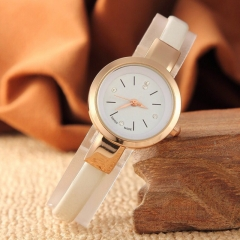Fashion Wrist Watch Women Simple Fashion Design Round Dial Fine Watch Band Wristwatch w white