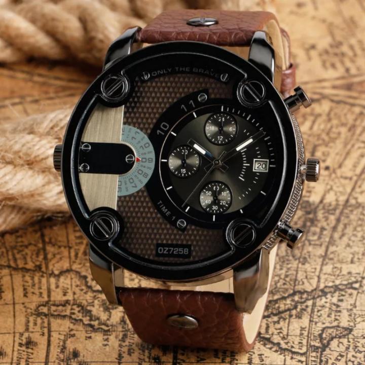 Men's Fashion Wrist Watch Fashion Casual Creative Outlook Sports Wristwatch Quartz Watch brown one size