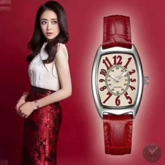 Fashion Wrist Watch Wristwatch For Women Square Dial Leather Watchband red
