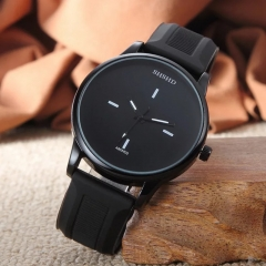 Fashion Wrist Watch Casual Silicone Watchband Round Dial Couples Lovers Quartz Sport Wristwatches black