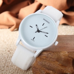 Fashion Wrist Watch Casual Silicone Watchband Round Dial Couples Lovers Quartz Sport Wristwatches white