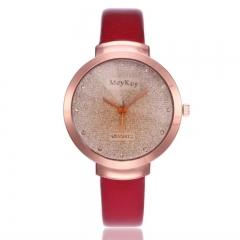 Fashion Wrist Watch Women Casual Simple Style Shiny Diamond Rhinestone Quartz Wristwatches red