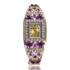Fashion Wrist Watch Women Rhinestone Luxury  Alloy Flower Shiny Diamend Wristwatches purple