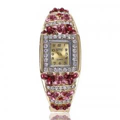 Fashion Wrist Watch Women Rhinestone Luxury  Alloy Flower Shiny Diamend Wristwatches red