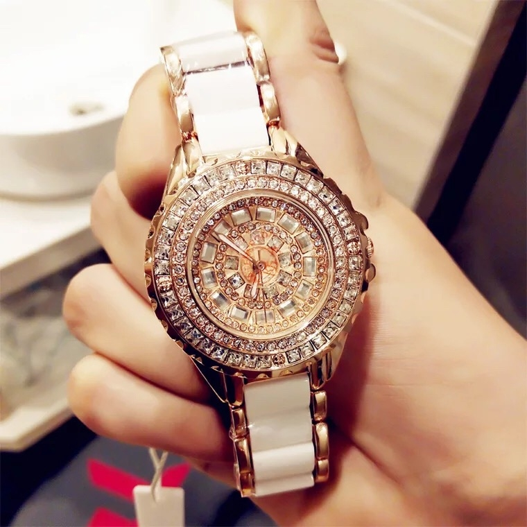 Fashion Wrist Watch Women High EndLuxury Shiny Rhinestone Ceramic Watchband Quartz Wristwatch golden and white 33